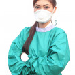 Female doctor wearing a green scrubs — Stock Photo #47812427