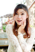 Asian female woman in a shocked pose — Stock Photo