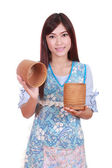 Female chef with bamboo rice box — Foto Stock