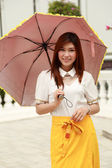 Thai girl dressing and umbrella with traditional style (palace b — Stock Photo