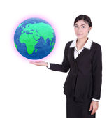 Businesswoman holding the Earth in her hand  — Stock Photo