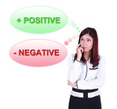 Business woman thinking about positive and negative thinking — Stockfoto