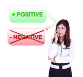 Business woman thinking about positive thinking — Stock Photo