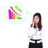 Business woman thinking about goal and graph — Stock Photo