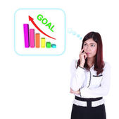 Business woman thinking about goal and graph — Stockfoto