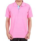Blank polo shirt on man — Stock Photo