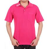 Blank polo shirt on man — Stockfoto