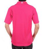 Blank polo shirt (back side) on man  — Stock Photo