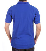 Blank polo shirt (back side) on man  — Stock Photo