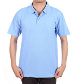 Blank polo shirt on man — Stockfoto