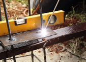 Electric welding connecting metal — Stock Photo