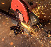 Worker cutting metal and spark  — Stock Photo