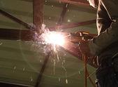 Soldadura metal construcción de conexión eléctrica — Foto de Stock