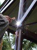 Elektriska svetsning ansluter konstruktion metall — Stockfoto