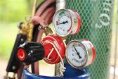 Welding gas cylinder pressure gauge — Stock Photo