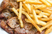 Steak beefsteak with french fries — Stock Photo