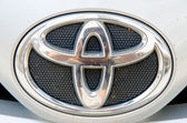 Logo of Toyota Altis car on display.Toyota Group is best known t — Stock Photo