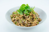 Spicy minced pork salad, minced pork mash with spicy, Thai food — Foto de Stock