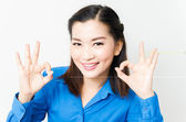 Image of a young woman with a lovely look and charming smile  — Stock Photo