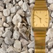 False Gold Wristwatch on the Gravel — Stock Photo