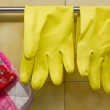 Rubber Gloves and Pot Holders — Stock Photo