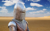 Medieval Soldier in the Desert — Stock Photo