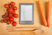 Electronic Cookbook in the Kitchen — Stock Photo