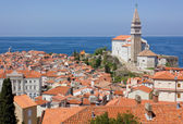 View of Piran and the Adriatic Sea — Stock Photo