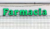 Segno illuminato farmacia italiana — Foto Stock