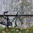 Stock Photo: Bicycle Against a Wooden Parapet