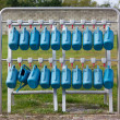 Set of Blue Watering Cans — Stock Photo