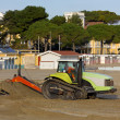 Bulldozer at Work on a Beach — Stock Photo