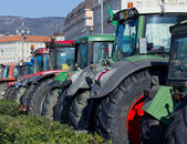 Row of Tractors Parked on Trieste's Waterfront — Stok fotoğraf