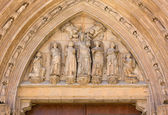 Statues Over the Palau Door of the Valencia Cathedral — Stock Photo