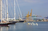 Docked Sailing Ships with Seaport in the Backround in Valencia — Stock Photo