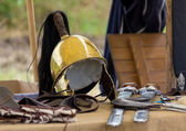 Ancient Roman helm and other war equipment — Stock Photo