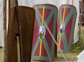 Legionary Shields in a Roman Encampment — Stock Photo