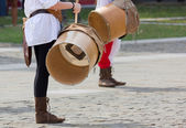 Close-up of two Drummers during a Reenactment — Stock Photo