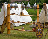 War Equipment and Other Utensils in an Ancient Celtic Encampment — Stock Photo