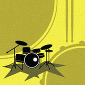 Drum set on the retro style — Stock Vector