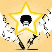 Afro man with saxophone and trumpet music vector — Stok Vektör