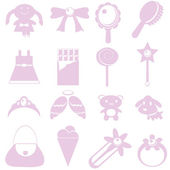 Toys for girl icon on white background — Stock Vector