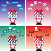 Santa and gift box for everyone in Christmas — Stockvektor