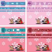 サンタ クロースと贈り物のピンクの雪の結晶を背景 — ストックベクタ