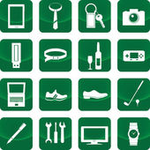 緑色のボタンを男性のアイコンのための機器 — ストックベクタ