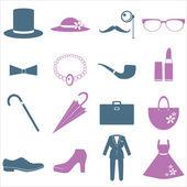 Lady and gentleman costume — Stock Vector