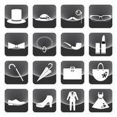 Lady and gentleman costume button — Vector de stock