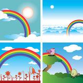 Rainbow and blue sky — Stock Vector