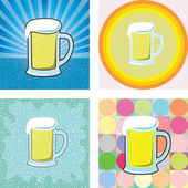 Glass of beer graphic in retro styles — Stock Vector