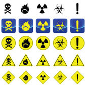 Warning sign for radio active, bio hazard, flame — Stock Vector